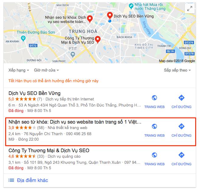 dịch vụ seo địa điểm